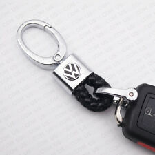 Black Calf Leather Alloy VW Logo Emblem Keychain Decoration Gift Accessories