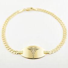 """NEW 10k Solid Gold Medical Medicalert Medic Id Alert Bracelet 7.75"""" FREE ENGRAVE"""