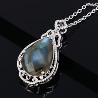 925 Sterling Silver 13*18 Natural Rainbow Pear Labradorite Gems Pendant Necklace