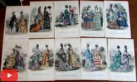 Umbrellas fashion illustrations c.1870 hand colored prints lot x 10 Leslie's
