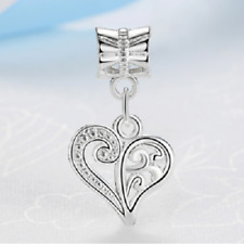 Silver love heart pretty openwork charm bead european /free gift bag/UK seller