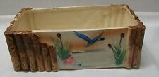 Planter Ocean Beach Scene with Ducks and Wood Poles Vintage Made Japan