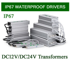 Waterproof IP67 LED Driver Power Supply Transformer 240V -DC12V/24V LED Strip UK