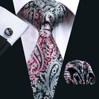Classic Red Black Mens Tie Paisley Silk Necktie Set Jacquard Woven Wedding C359