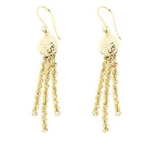 3.5 Grams App 10K Yellow Solid Genuine Gold Wave Rope Chain Tassel Earrings $399