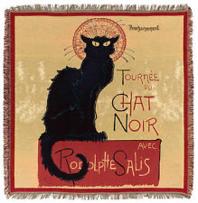Black Cat Tapestry Blanket - French Decor Throw - Le Chat Noit Throw Blanket