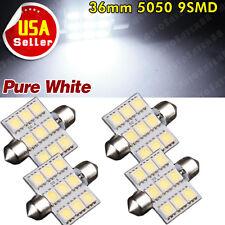 "4X Festoon 36mm 1.50"" 5050 9 SMD Dome Map Interior White LED Light bulb C5W 6418"