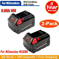 For Milwaukee Lithium Battery 48-11-1852 48-11-1850 M18 18V XC 2-Pack 6.0AH