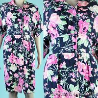 VINTAGE Black Floral Roses Secretary pencil wiggle avant garde day dress Sz S