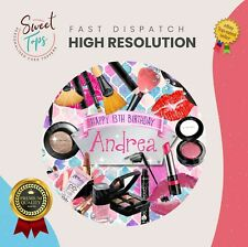 MAKE-UP ROUND EDIBLE BIRTHDAY CAKE TOPPER DECORATION PERSONALISED