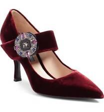 NIB PRADA Embellished Mary Jane Strap Pointy Toe Pump Shoe Burgundy Velvet 39 -9