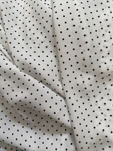 White Polka Dots Printed Wool Dobby Fabric 2 Yards Lightweight Sewing woven