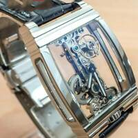 Mens Flywheel Movement Exhibition Manual Mechanical Silver Watch Wrist P4P8