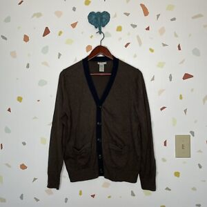 Gap Small Cotton Cashmere Blend Button Down V Neck Cardigan Sweater Womens Brown