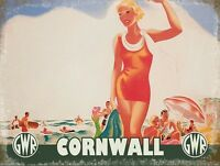 CORNWALL NEWQUAY SURF SURFER SURFING VINTAGE STYLE TIN SIGN METAL PLAQUE 948