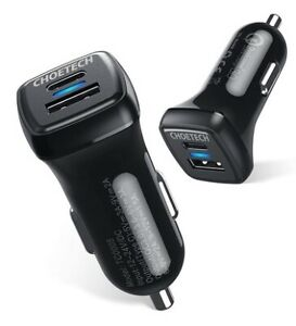 USB-C Car Charger Dual Port Fast 36W TypeC USB-A QC 3.0 2Pack Choetech