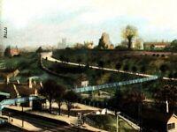 Castle Walk Leaning Tower Bridgnorth postcard antique train bridge history