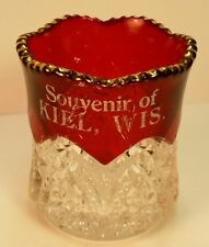 Old EAPG Souvenir Ruby Red Flash Glass Toothpick Holder Keil WI Wis Calumet CO