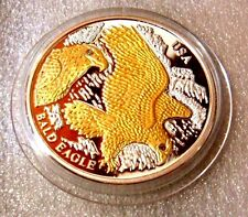 LIBERIA 2004 $10 USA BALD EAGLE SILVER PROOF GOLD PLATE 2 x DIAMONDS RARE