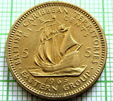 BRITISH CARIBBEAN TERRITORIES ELIZABETH II 1965 5 CENTS, SAILING SHIP, UNC