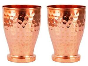 Copper Handmade Hammered Drinking Water Tumbler Cup Mug For Health Benefits 2 PC