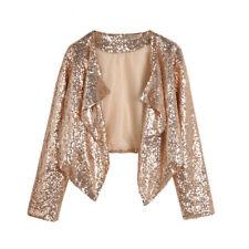 Women's Cardigan Gold Black Sequin Long Sleeve Irregular Jacket Outerwear Top
