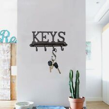 Vintage Storage Hooks WALL MOUNTED Black Metal Rack Hanger Shabby Chic`
