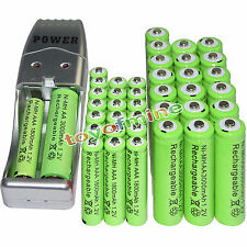 20 AA 3000mAh+ 20 AAA 1800mAh 1.2V NI-MH green Rechargeable Battery +USB Charger