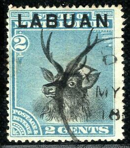 North Borneo LABUAN QV Stamp SG.63 2c STAG (1897) Superb CDS Used YELLOW275