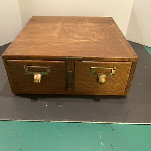 Library Bureau Makers 2 drawer File Wood Cabinet Card Catalogue Antique Vintage