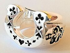 1940s 50s Classic Horseshoe With Playing Cards And Skull & CrossBone Rockabilly