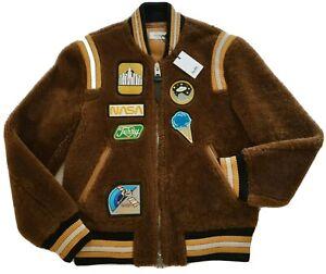 $2,200 COACH Italy Shearling Lamb NASA Patch Retro Varsity Jacket Coat Size 46