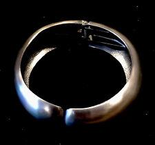 """VTG estate shiny satin silver grey tone hinged clamper 7/8"""" wide bangle bracelet"""