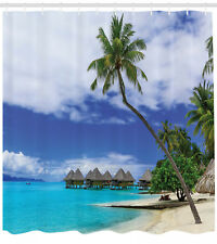 Bungalow on Tropical Resort Bora Bora Island Pacific Ocean Shower Curtain Set