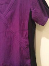 WonderWink Women's Four Stretch Knit Panel Scrub Top, Purple With Black Small