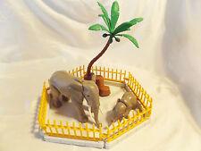 Playmobil 2 Elephants Mom & Baby w/ Zoo fence, Palm Tree, Ark or Safari Animals