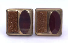 ANTIQUE VICTORIAN GOLD STONE & BANDED AGATE GOLD FILLED CUFFLINKS (CL7)