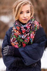 Large Russian Slavonic style folk shawl scarf  Winter collection 2020 Cyganochka