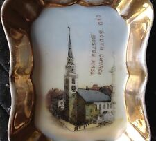 Antique D & C Limoges France Old South Church Boston Gold Souvenir Trinket Dish