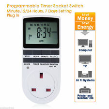 Digital LCD Display UK Plug - In Programmable Timer Switch Socket 24hr 7Day UK