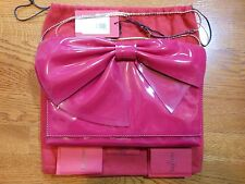 Auth Valentino Lacca Bow Gold Chain Clutch Crossbody Shoulder Bag Pink a498f3ee4eeb6