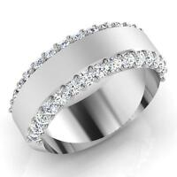 0.90 Ct Mens Certified Diamond Engagement Ring 14K White Gold Band SI1 16516616