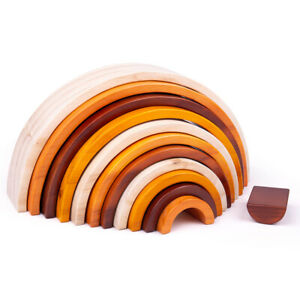 Bigjigs Toys Natural Wooden Stacking Rainbow - Large