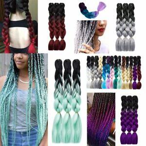 "24"" Kanekalon Jumbo Braids Braiding Hair Ombre Dip Dye Pink Purple Blue Hair"