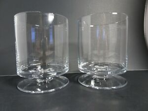2 Crate and Barrel Classic London Hurricane Candle Holders Pedestal Blown Glass