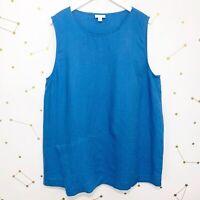 J Jill Tank Top Size XL Blue Love Linen Sleeveless Layered Hem Loose Tunic
