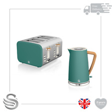 Swan 1.7L Nordic Cordless Kettle 3kW Rapid Boil &4 Slice Toaster Stainless Steel