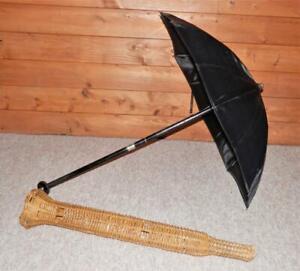Antique H/M Silver Horse Driving Carriage/Parasol/Umbrella -Wicker Case By-BRIGG