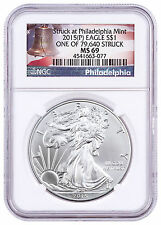 2015-(P) Silver Eagle NGC MS69 One of 79,640 Struck Liberty Bell Label SKU46799