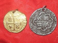 WHOLESALE  2 PEWTER SILVER GOLD TONE COIN PIECES OF EIGHT PIRATE CHARM  PENDANT